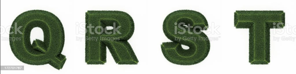 Grass letters QRST royalty-free stock photo