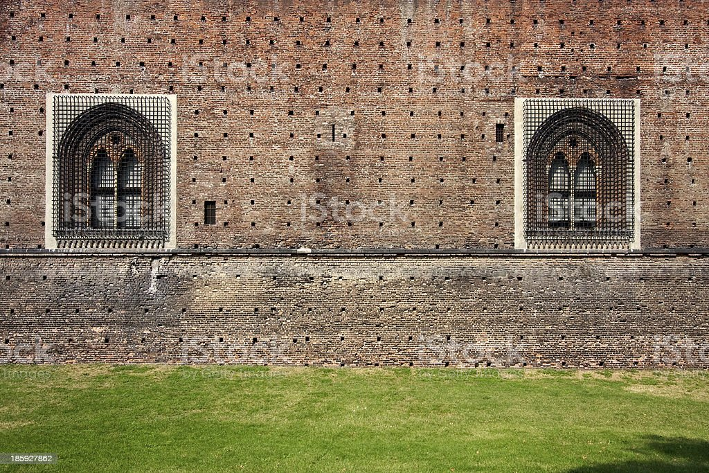 grass of castle sforzesco milan royalty-free stock photo