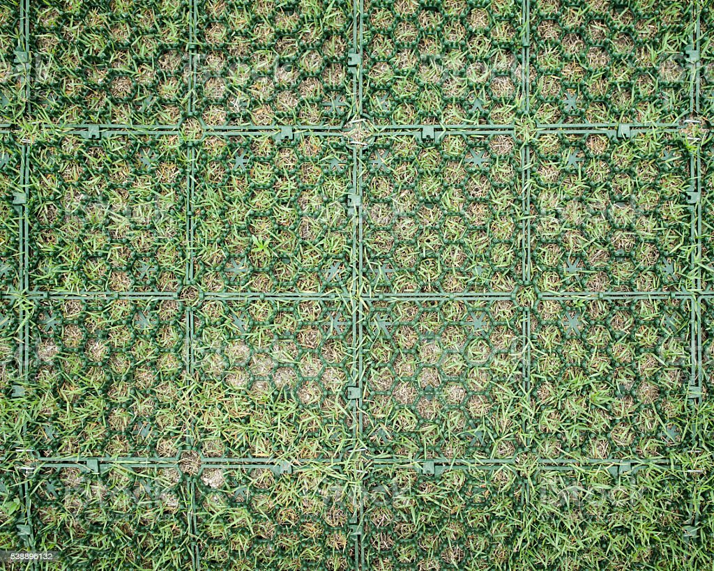 Grass Paving Grid Installation stock photo