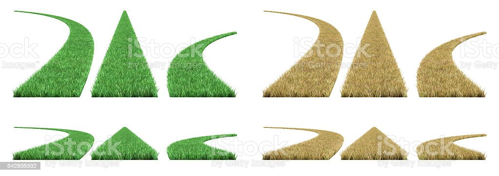 grass road on a white background. stock photo