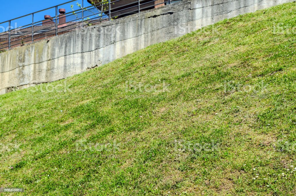 Grass slope stock photo