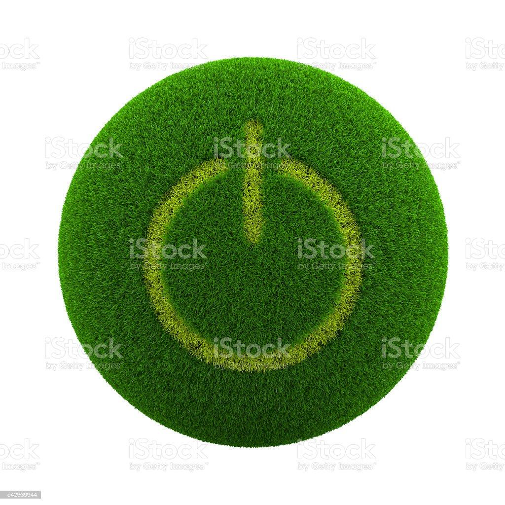 Grass Sphere Power Button stock photo