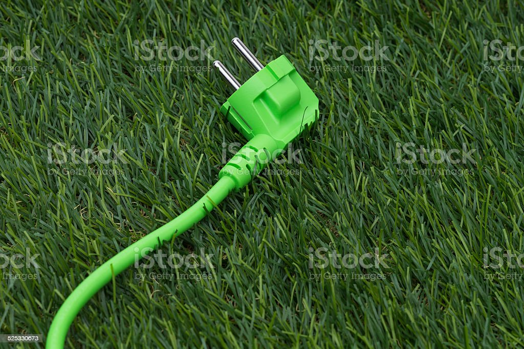 Grass with green plug stock photo