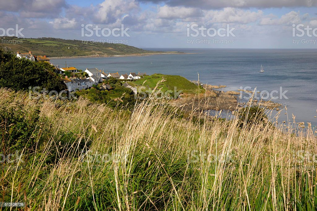 Grasses and Coverack Bay stock photo
