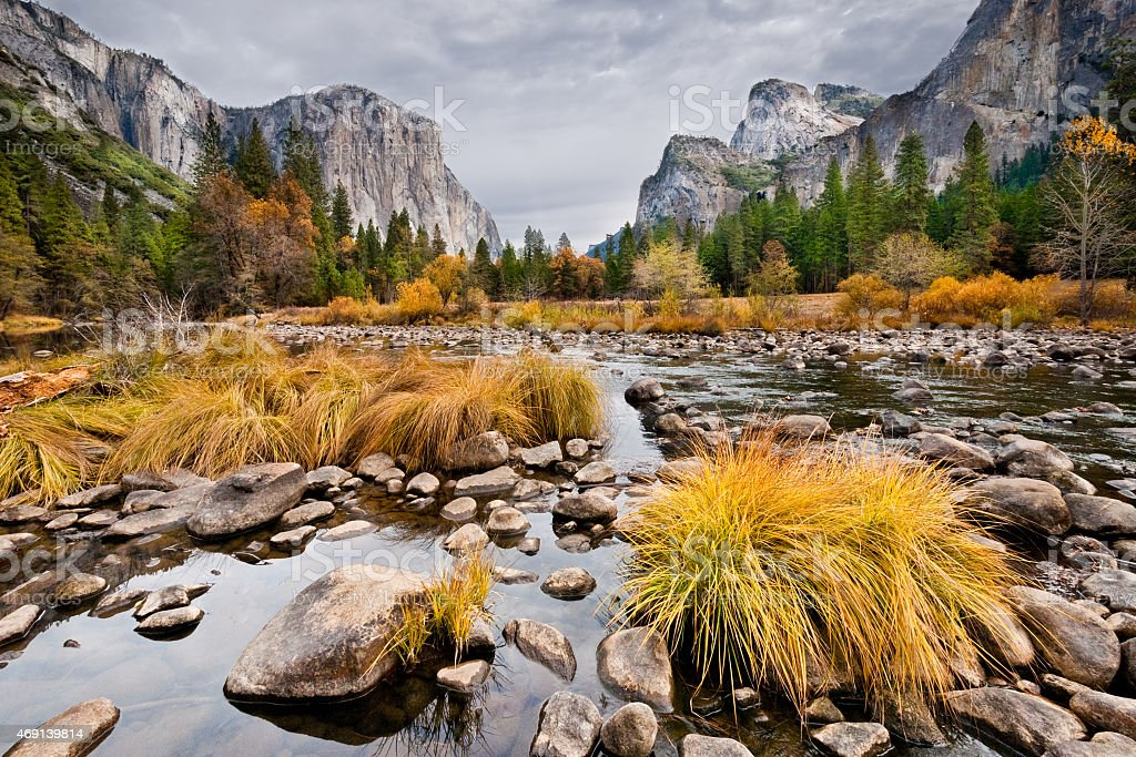 El Capitan and Merced River in the Fall stock photo