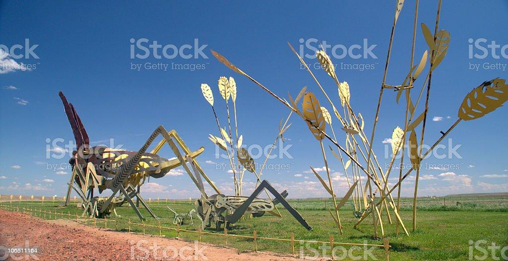 Grasshopper Sculpture on Enchanted Highway, North Dakota royalty-free stock photo