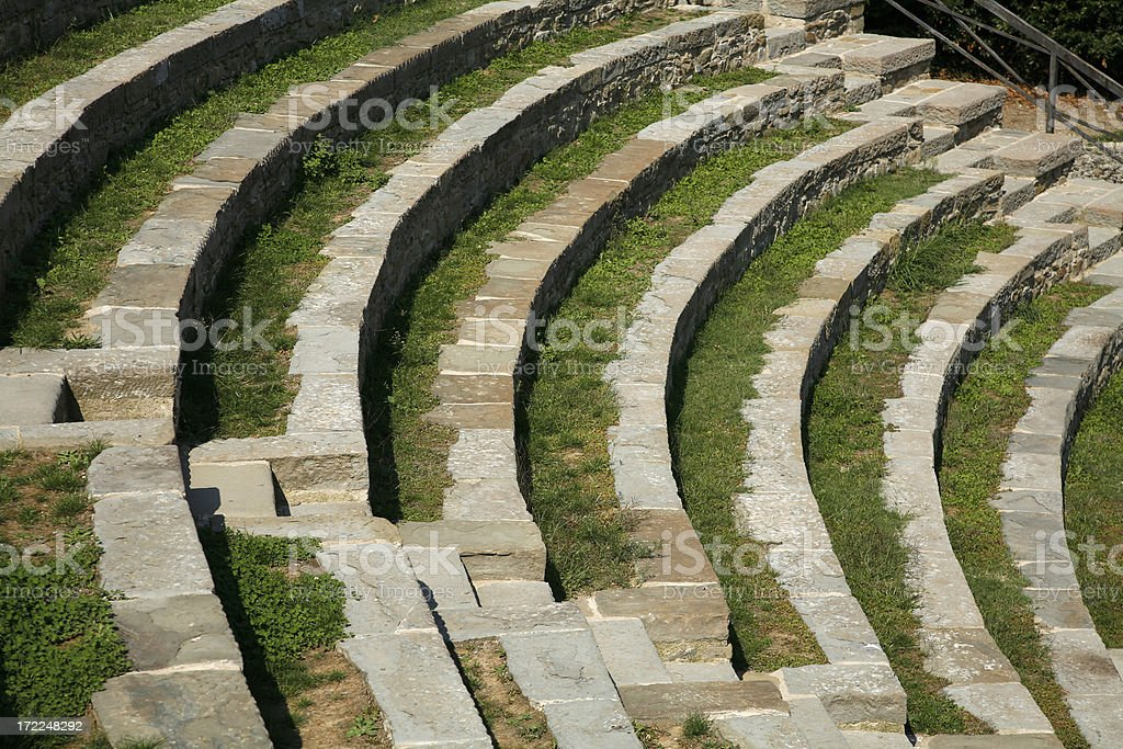 Grassy Curves Of An Amphiltheater In Italy royalty-free stock photo