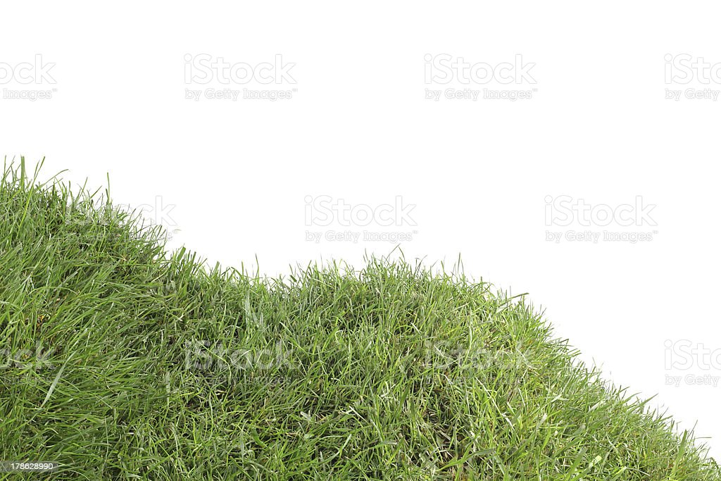 Grassy Down Hill Cutout stock photo