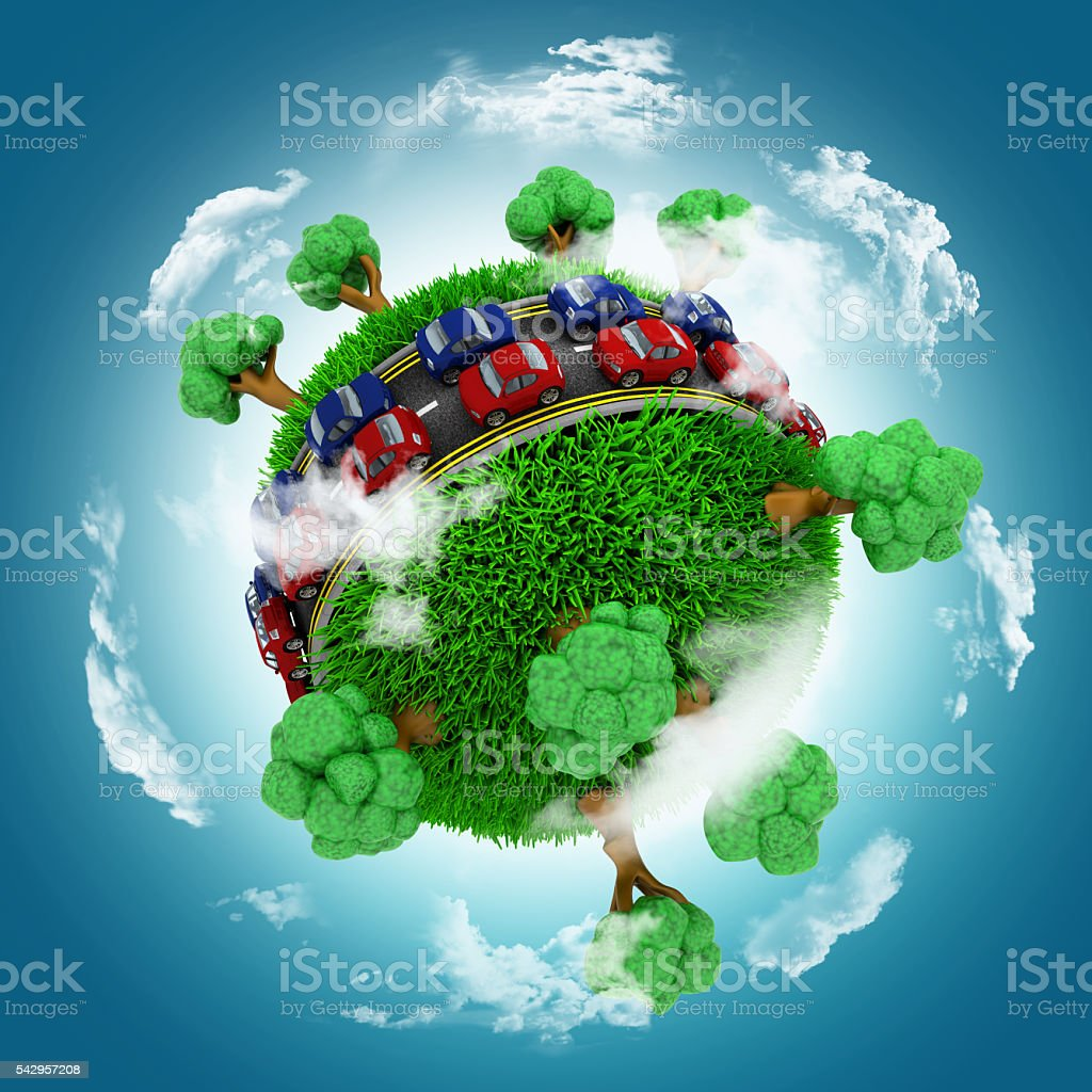 3D grassy globe with cars on roads stock photo