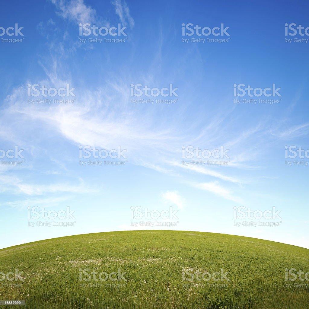 Grassy Hill & Sky royalty-free stock photo