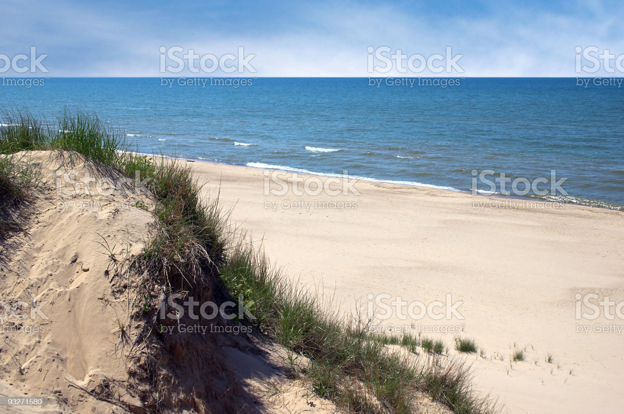 Grassy Indiana Dunes next to beautiful sand beach and ocean royalty-free stock photo
