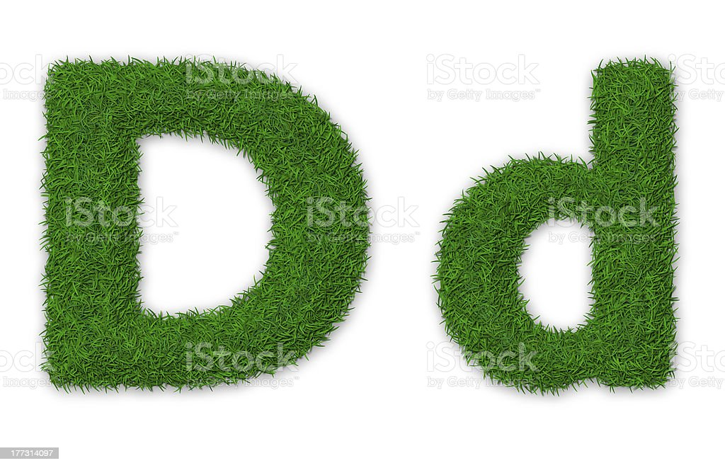 Grassy letter D royalty-free stock photo