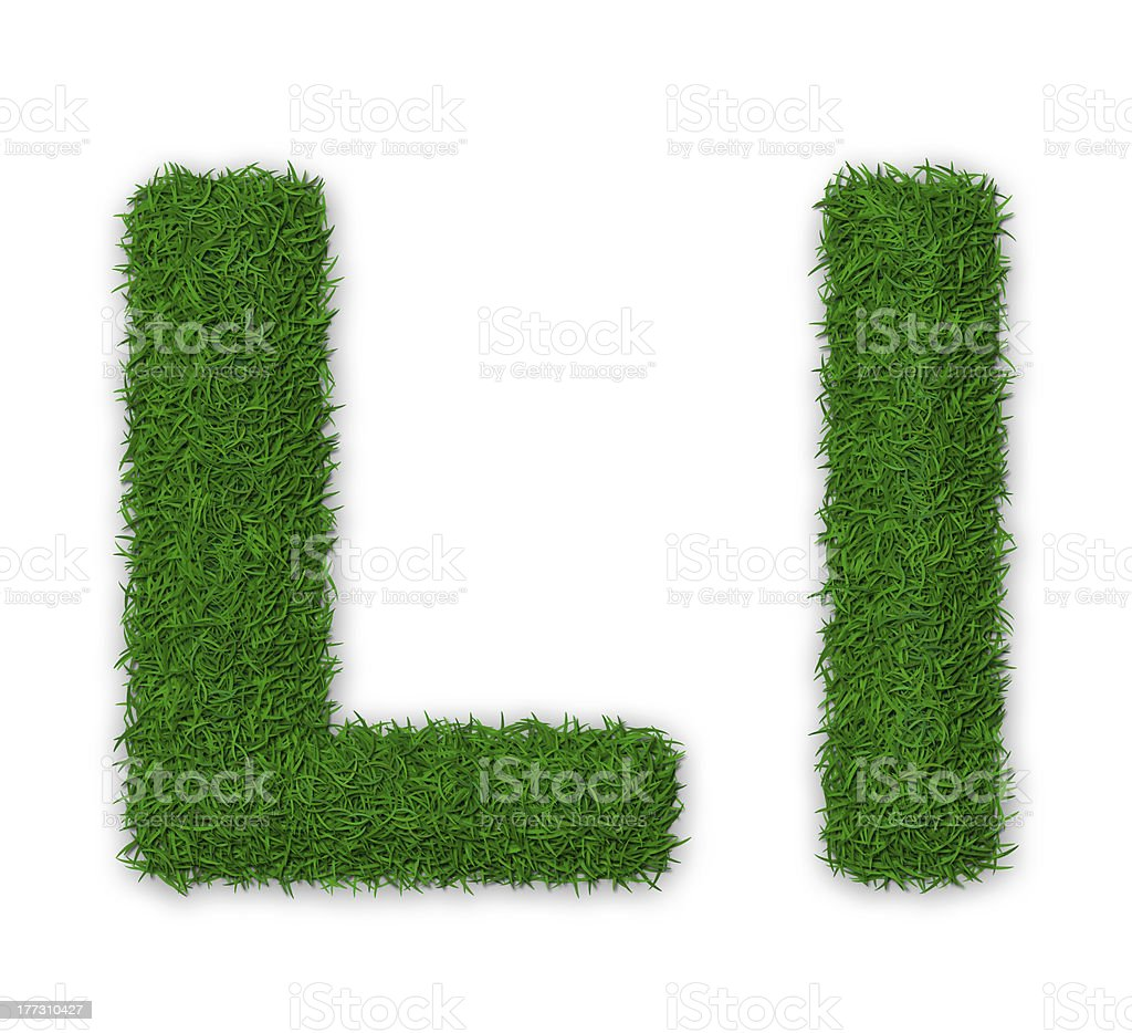 Grassy letter L stock photo