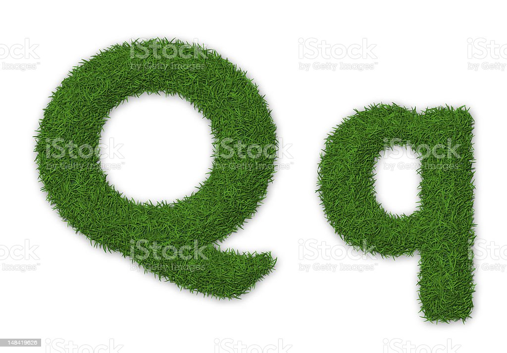 Grassy letter Q stock photo