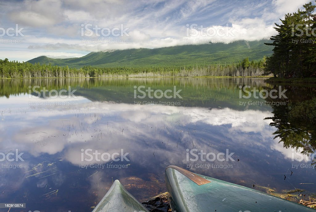 Grassy pond at Baxter State Park, ME stock photo