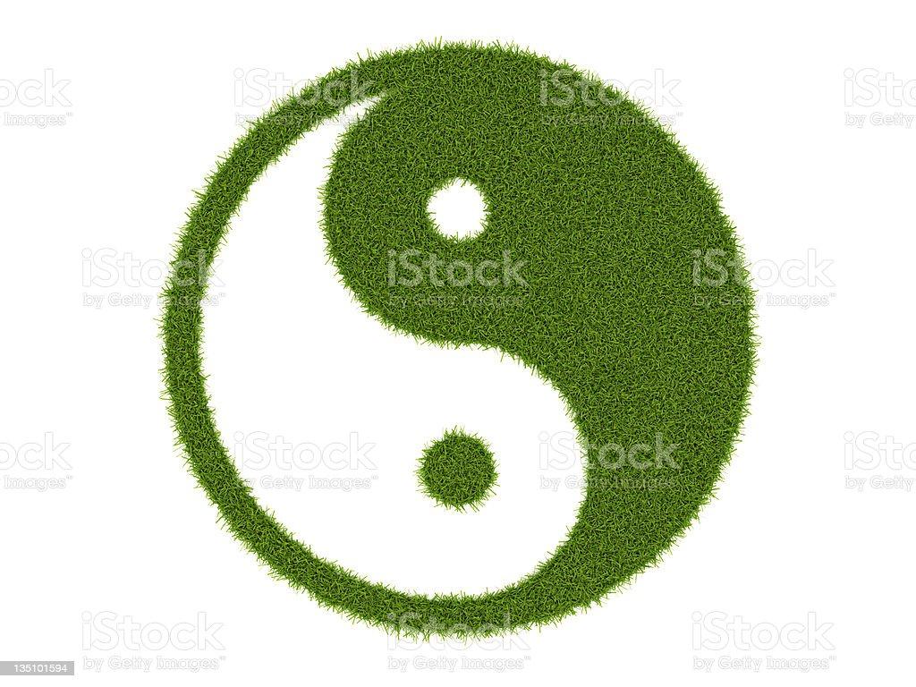 grassy yin yang symbol stock photo