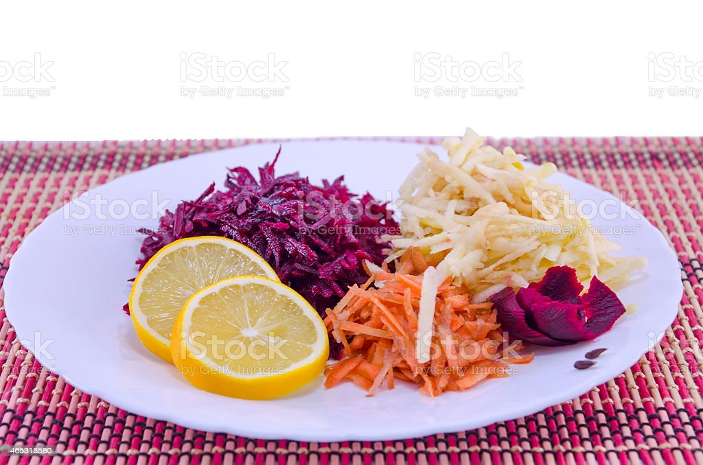 Grated carrots beet and apples royalty-free stock photo