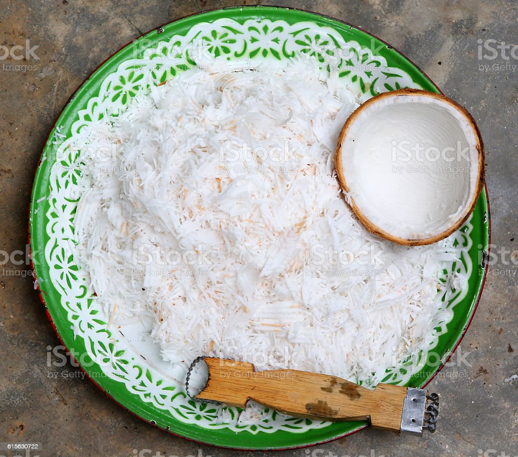 grated fresh coconut stock photo