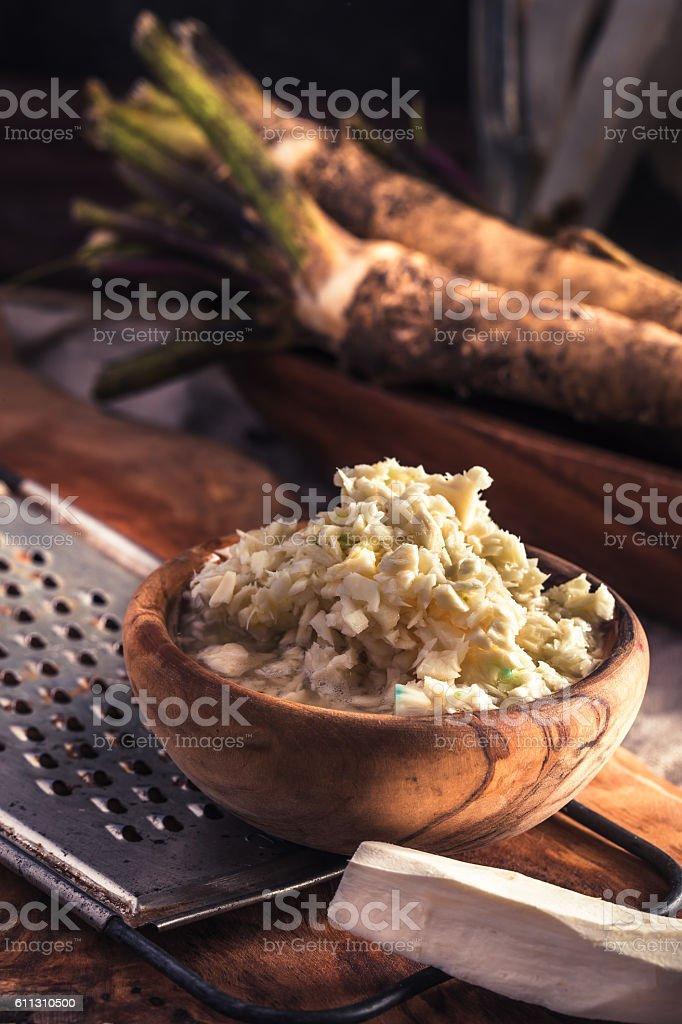 Grated horseradish bowl stock photo