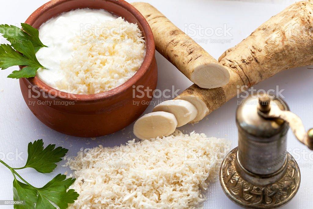 Grated horseradish stock photo