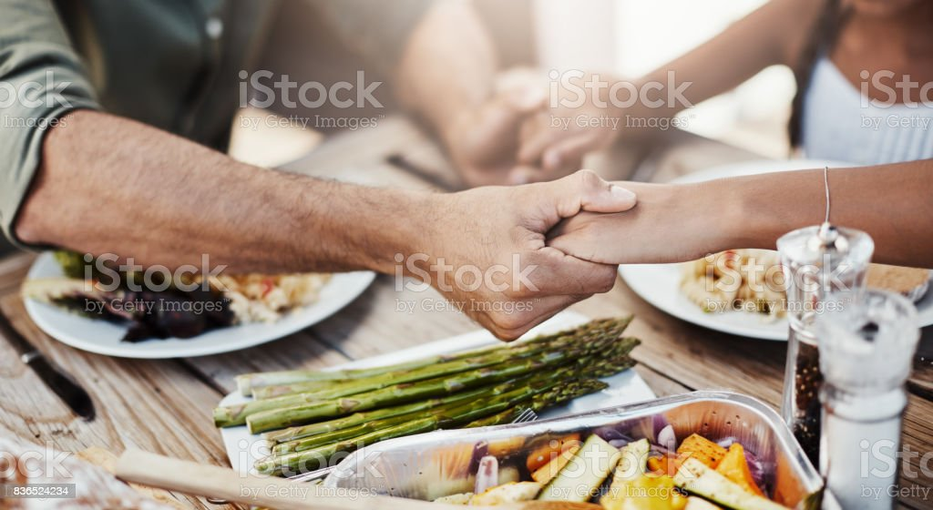 Grateful for this food and for our family stock photo