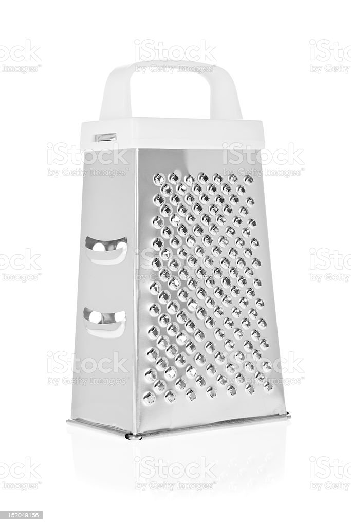 Grater in stainless steel isolated on white stock photo
