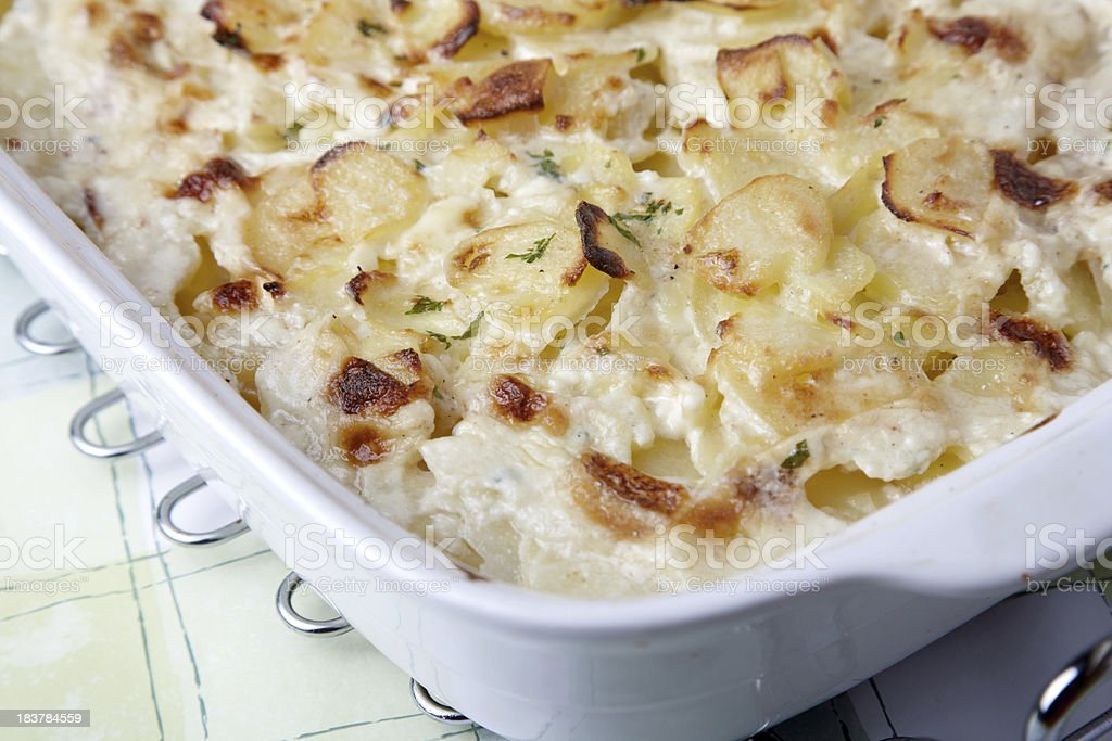 Gratin Dauphinois creamy potato dish stock photo