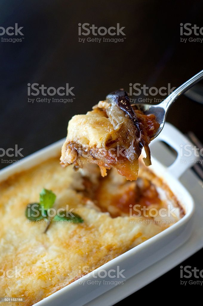 gratin on spoon stock photo