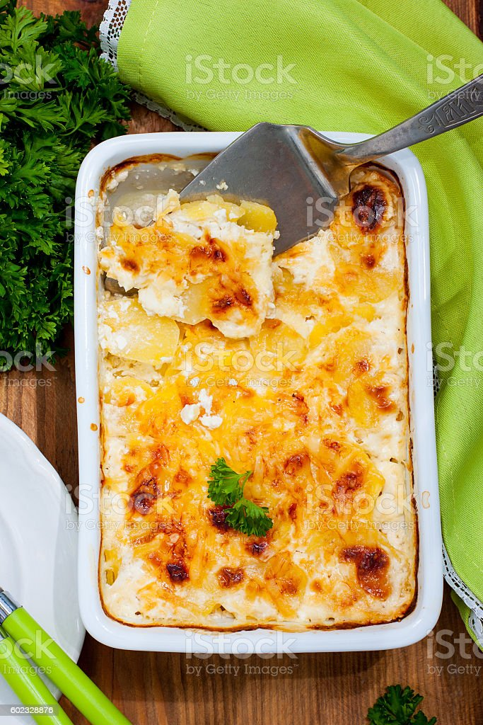 Gratin potatoes with cheese, top view stock photo