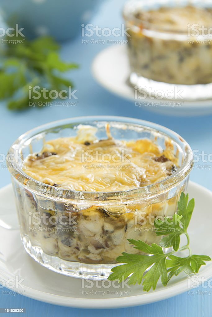 Gratin with mushrooms and cheese. royalty-free stock photo