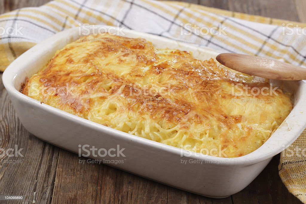 Gratin with pasta and cheese royalty-free stock photo