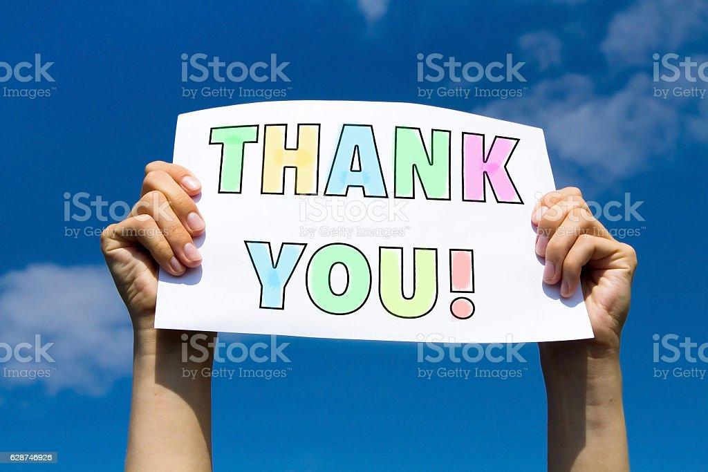 gratitude concept, thank you sign stock photo
