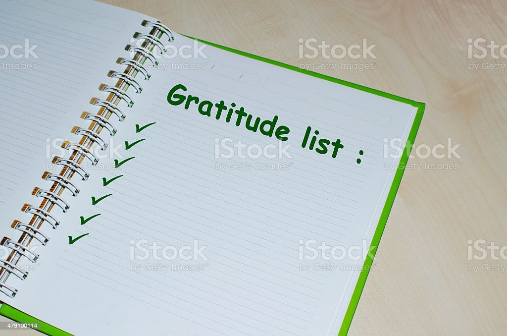 Gratitude list on open agenda stock photo