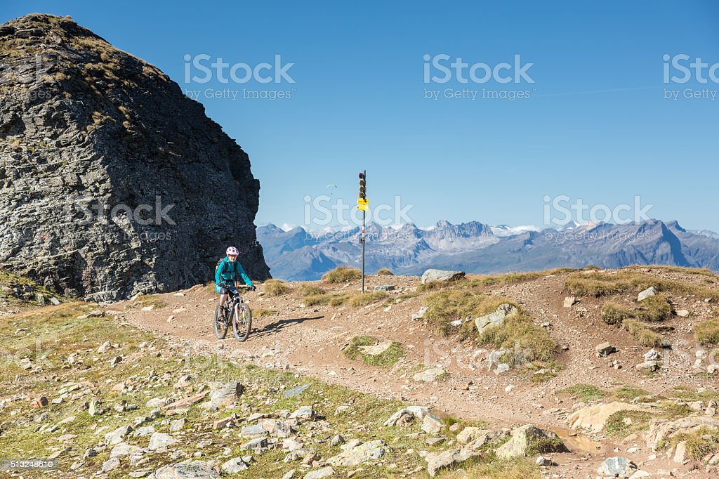 Graubünden high altitude single trail biking, Switzerland stock photo