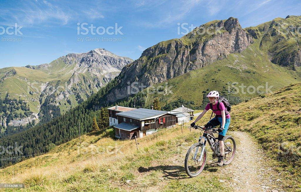 Graubünden Scenic Mountainbiking, Switzerland stock photo