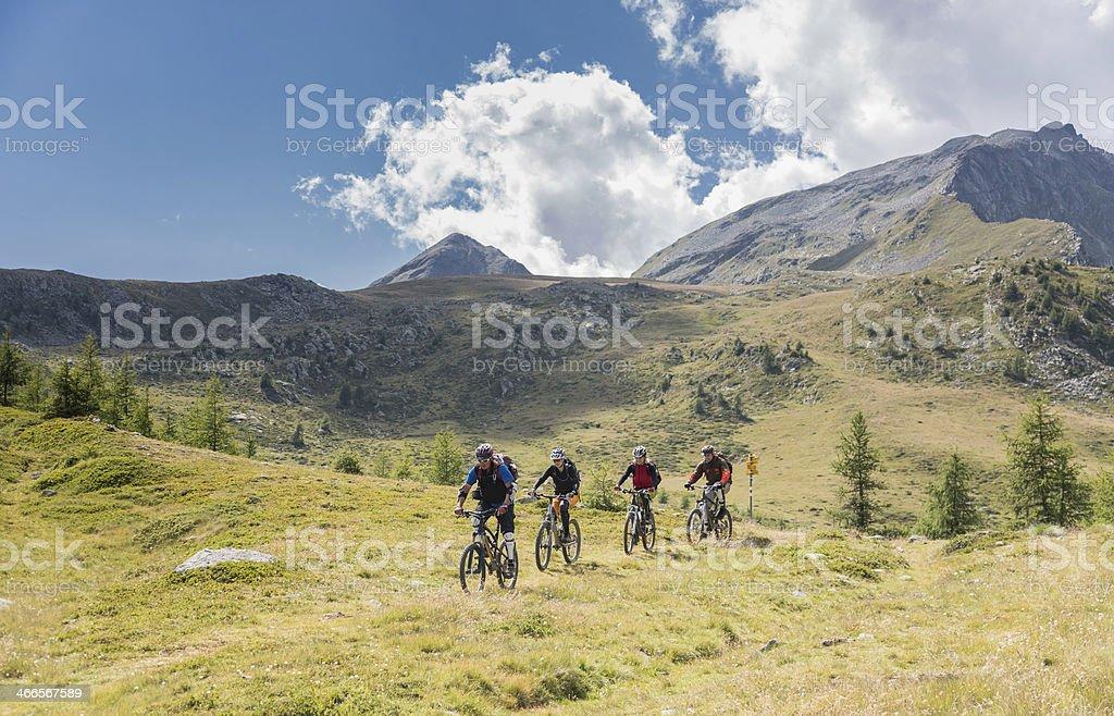 Graubunden Pasture Downhill, Switzerland stock photo
