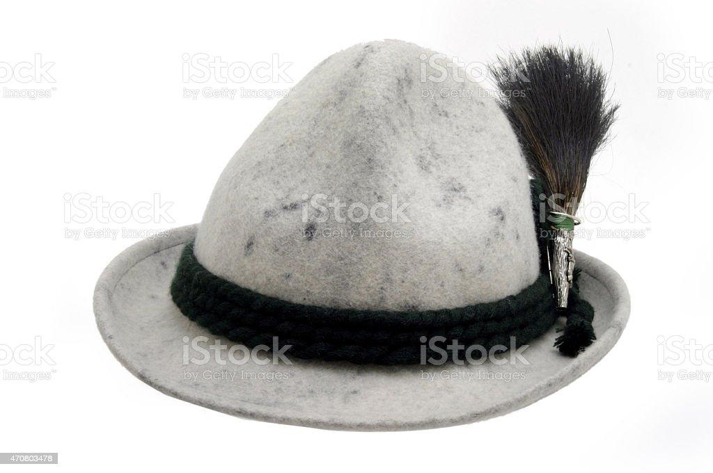 grauer Tiroler Hut mit Gamsbart stock photo