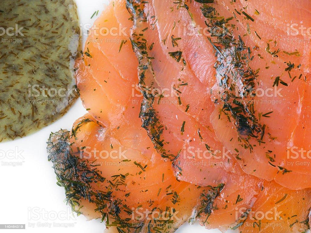 Gravadlax salmon with Dill Sauce stock photo