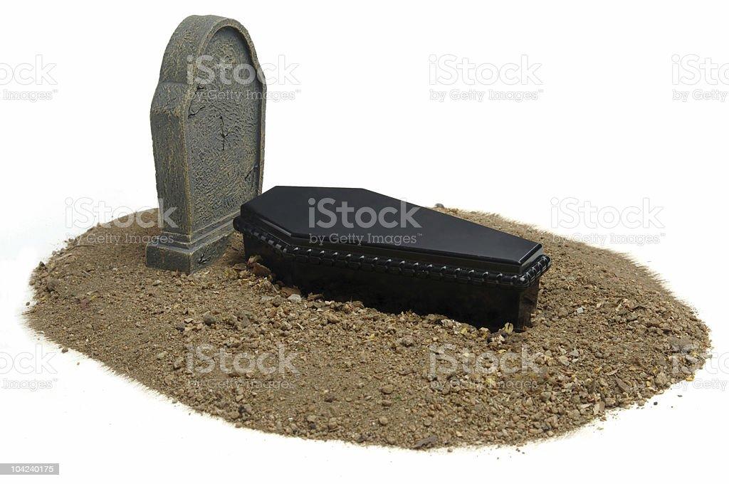 Grave & Tombstone on white stock photo