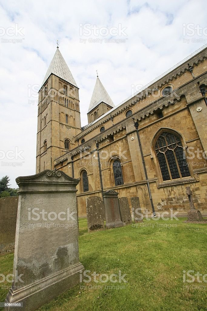 Grave and Minster stock photo