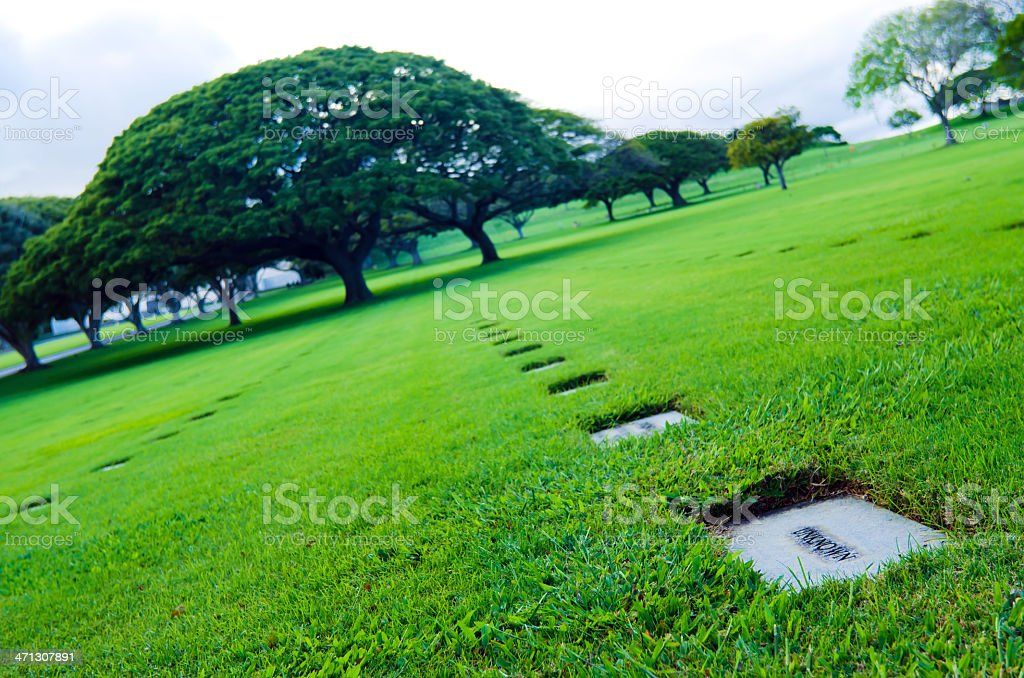 Grave at National Memorial Cemetery of the Pacific in Honolulu stock photo