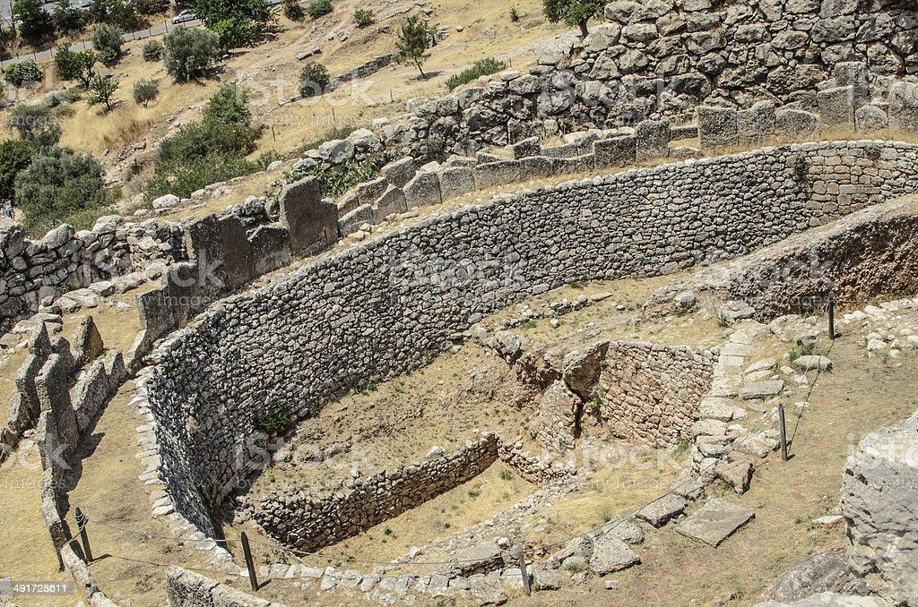Grave Circle A  in Mycenae, Greece stock photo