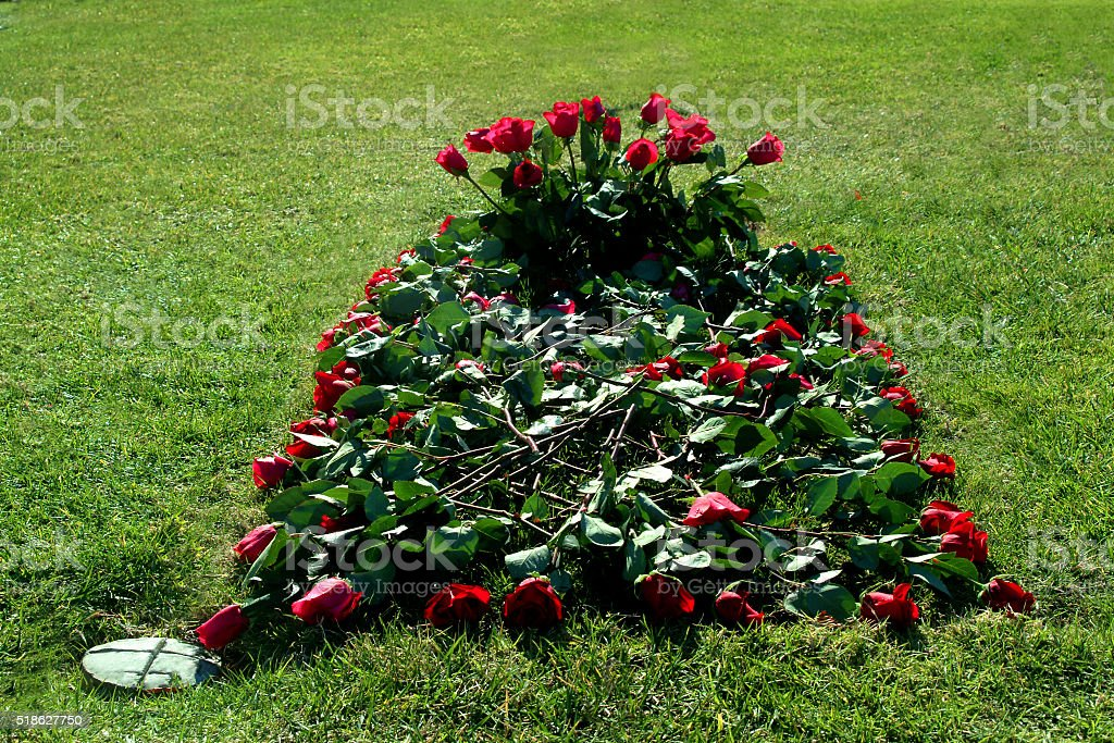 Grave Decorated With Red Roses stock photo