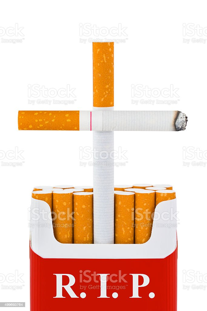 Grave made of cigarettes stock photo