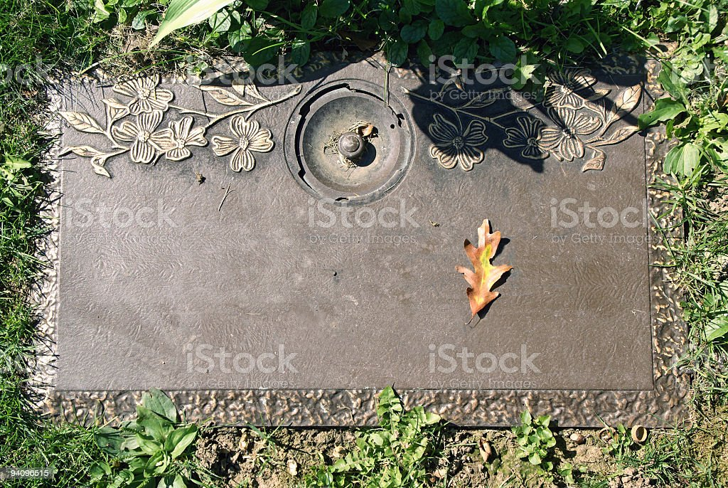 Grave marker, waiting for name stock photo