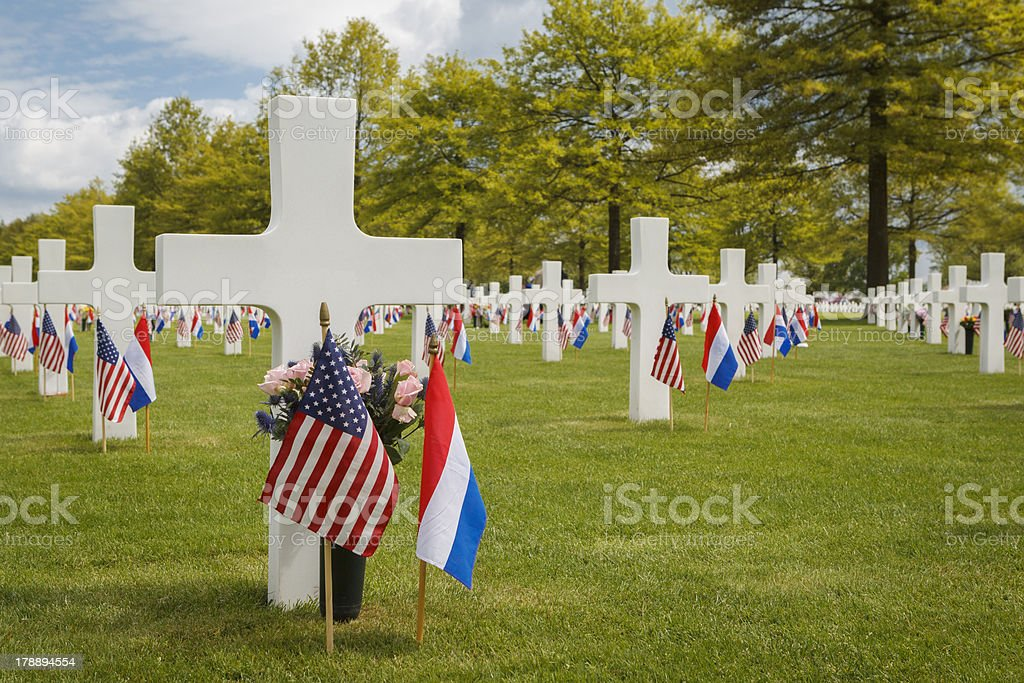 Grave Markers Decorated for Memorial Day royalty-free stock photo