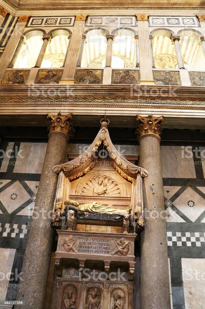 Grave monument of John XXIII Baptistery San Giovanni, Florence Italy stock photo