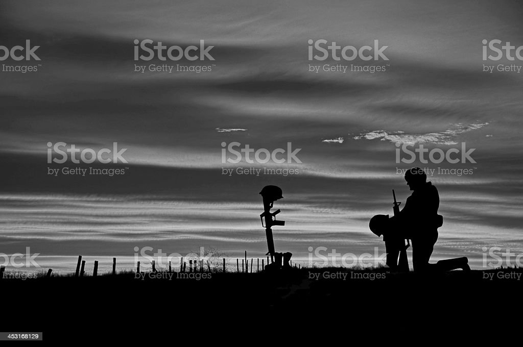 Grave of Fallen Soldier... Black and White stock photo