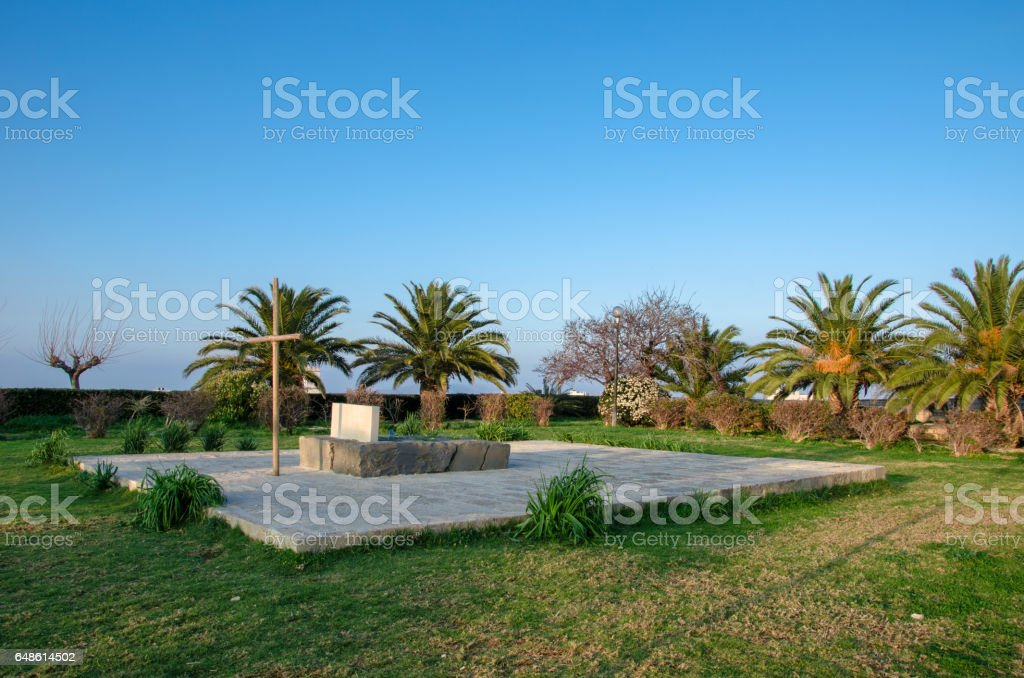 Grave of Greek famous writer and philosopher Nikos Kazantzakis. stock photo