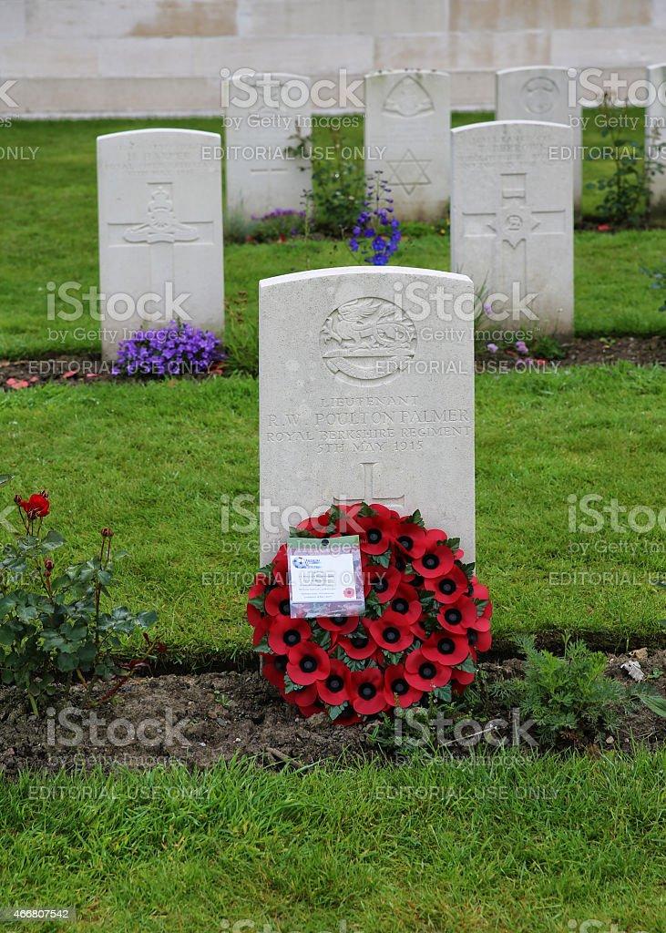 Grave of Lt  Poulton-Palmer 1/4th Royal Berks Hyde Park Corner stock photo